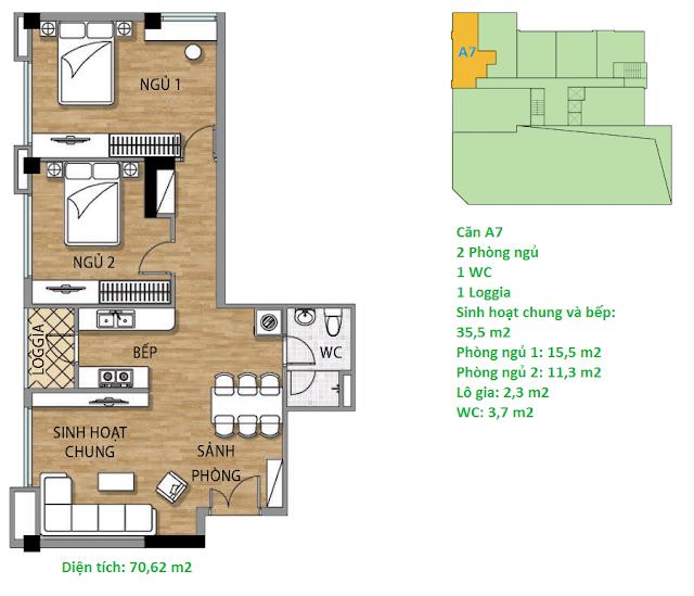 Căn hộ A7 diện tích 70,62 m2 tầng 2 Valencia Garden