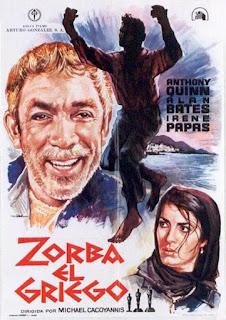Imagen con el cartel español de la película Zorba el Griego de Michael Cacoyannis