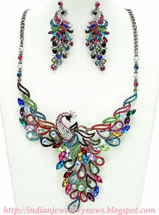 Colorful Peacock Necklace and Earring