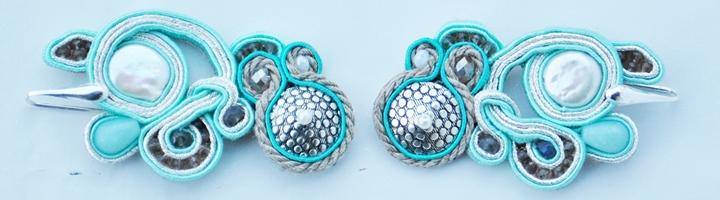 ARUBA - perla di fiume, amazzonite, cristalli, charm metallo anticato, cordoncino, soutache