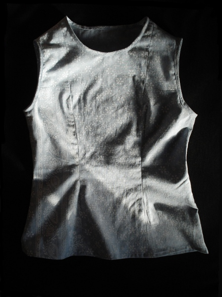 blue sleeveless homemade shirt