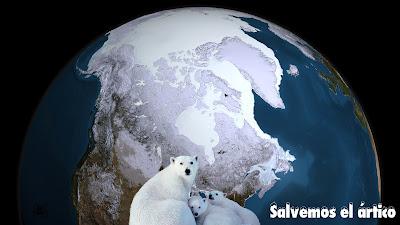 El ártico y una familia de osos.