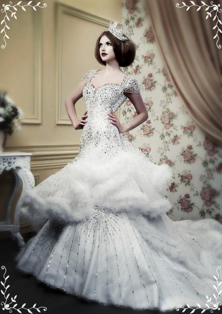 Luxury Winter Wedding Dress Idea With Silver Beading - Wedding Dress