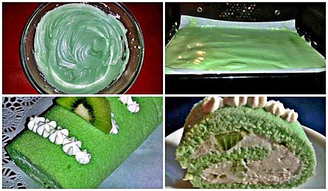 Preparación del brazo de gitano de kiwi y nata