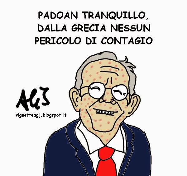 Padoan, debito, Grecia, Varoufakis, satira , vignetta
