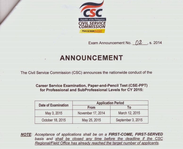 Homebase Civil Service Review  Civil Service Exam Schedule