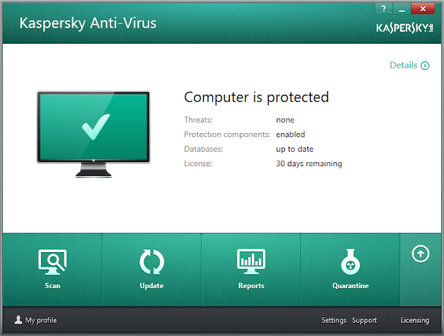 Kaspersky Antivirus 2014 - Main Interface