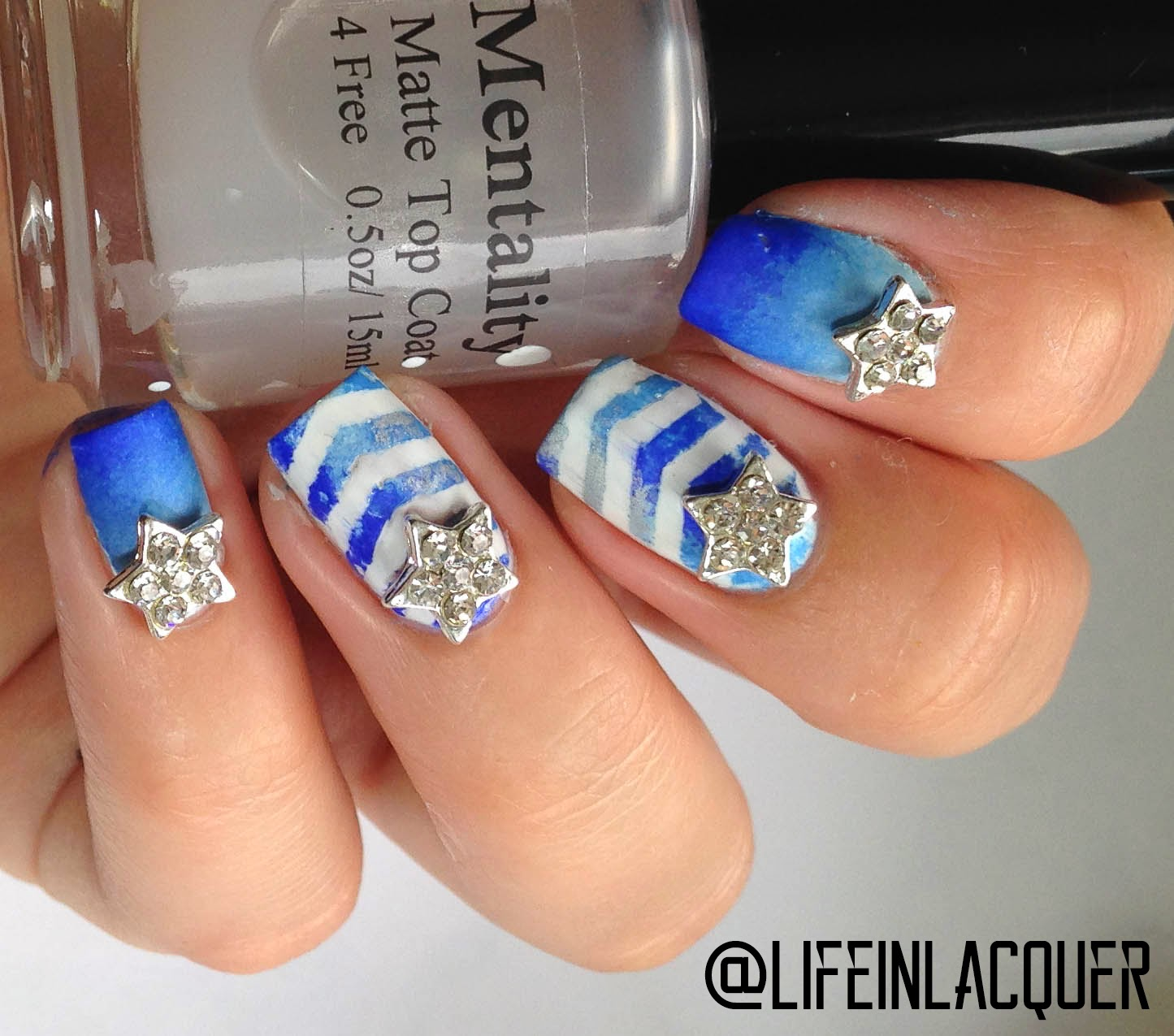 Nail Stickrs geometric blue nail art