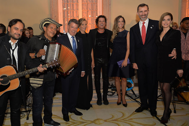 King Felipe VI of Spain and Queen Letizia of Spain attends the official reception of a dinner to Colombian President Juan Manuel Santos and his wife Maria Clemencia Rodriguez held at El Pardo Palace
