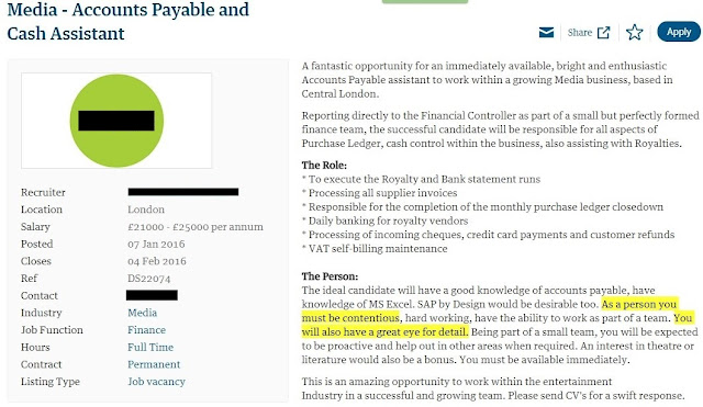 Accounts payable and cash assistant job advert with spelling error