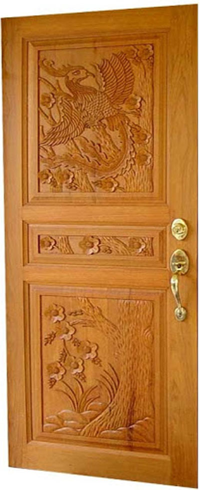 Latest kerala model wood single doors designs gallery i for Main two door designs