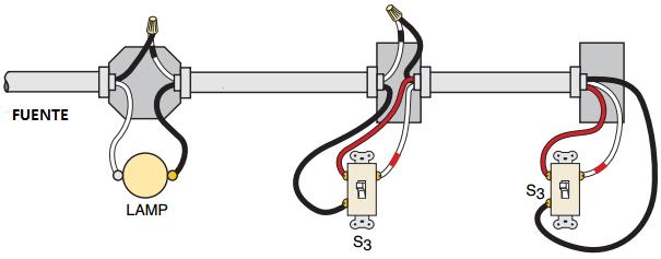 Conexión del interruptor de tres vías