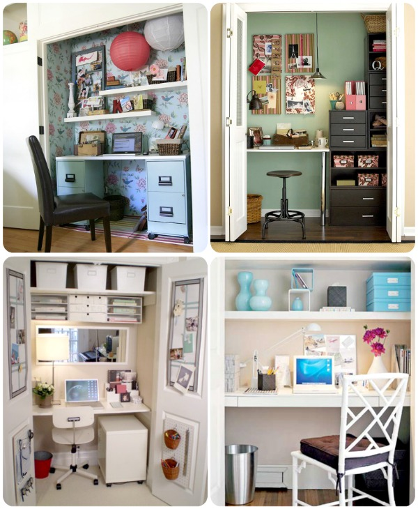 Tuck away a workspace or put a guest room closet to work with a closet office. We've got 25 great