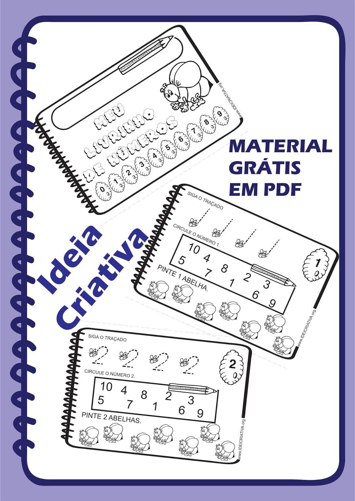Livrinho dos Números Abelhinhas Download Grátis Ideia Criativa