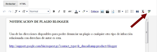 Acceso al corrector ortográfico de Bloggger