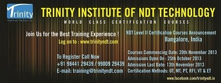 Upcoming NDT Level II Training from 20 November 2013 at Bangalore, India - Click on Image
