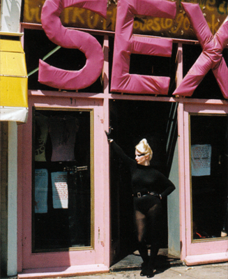 The SEX boutique in Chelsea with model Jordan at the door.