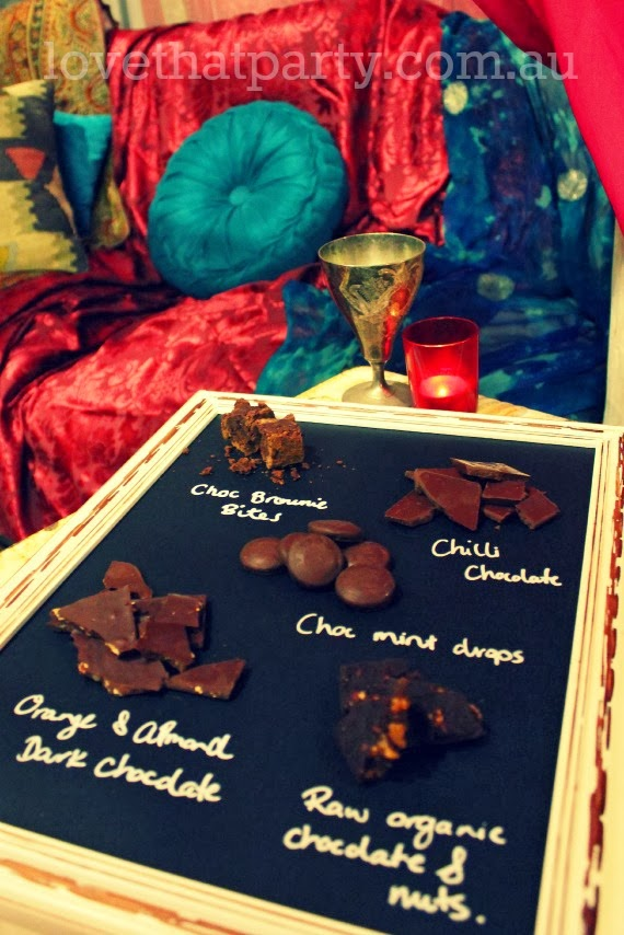 Chocolate tasting platter for your Valentine! Arabian Nights date Night In. www.lovethatparty.com.au
