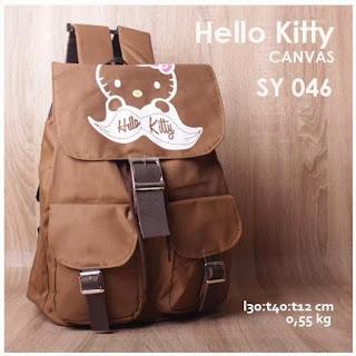 jual online tas ransel kanvas/canvas dengan sablon hello kitty harga murah