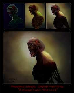 Jephyr Art - Digital Painting Process Steps - It Came From The U.N. (Adobe Photoshop / Wacom Tablet)