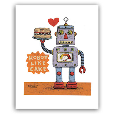 Picture of a robot with a cake