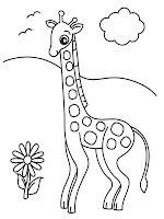 Giraffe Cartoon Coloring Picture Printable