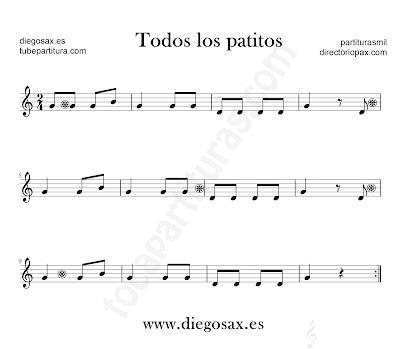 Todos los patitos partitura de flauta, violín, saxofón alto, trompeta, clarinete, soprano sax, tenor, oboe, corno inglés, barítono, trompa, fliscorno... en clave de Sol