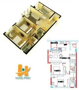Căn hộ Hưng Phát, Căn hộ Hưng Phát 80.32 m2, mat bang can ho hung phat