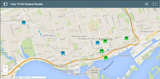 Map for Free Toronto Design Offsite Festival Shuttle Bus Stop Locations