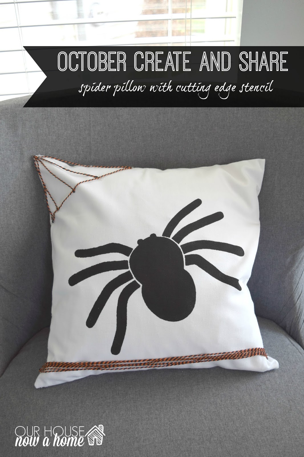 october create and share spider pillow with cutting edge stencil