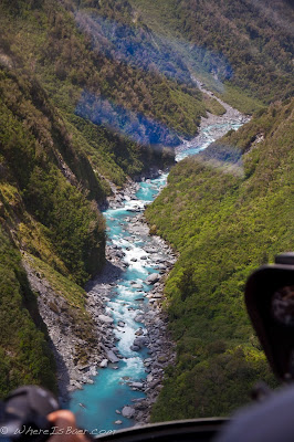part of the lower canyon looking reasonable from way above, Chris Baer, NZ, new zealand, whitcombe, upper, kayak, blue water glacial, winning, helicopter