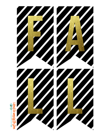 Free Printable Black, White, and Metallic Fall Banner | Download includes separate page of just metallic pumpkins, too.
