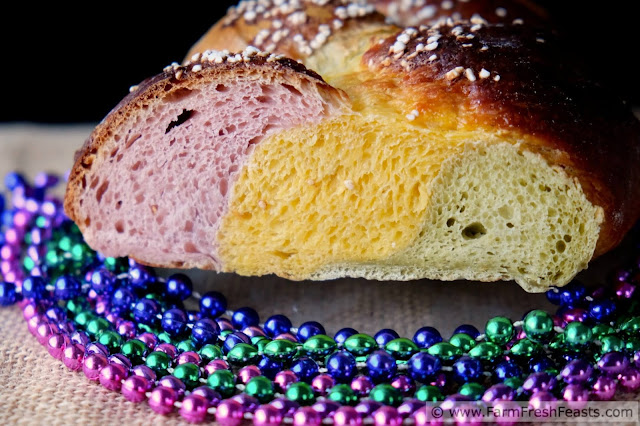 This festive bread is naturally colored with sweet potatoes and green tea to make a sweet braided loaf that's fun and nutritious. A wholesome way to let the good times roll.