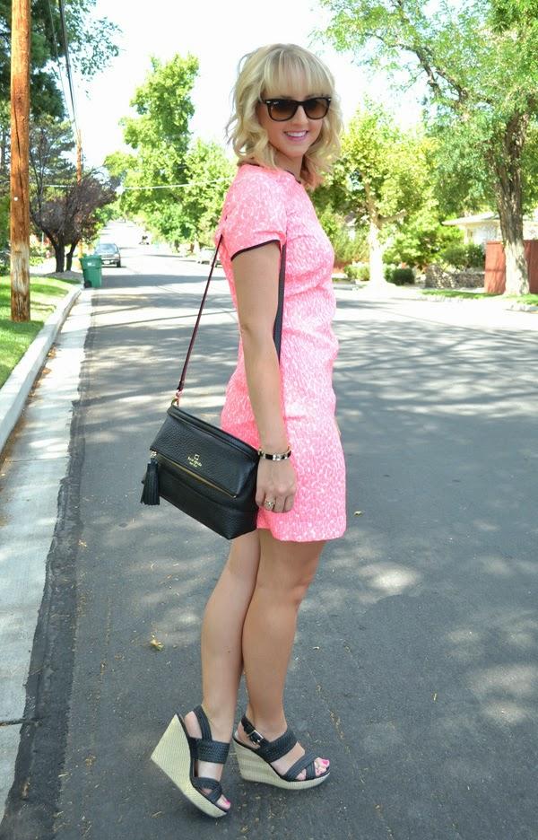 pink banana republic dress, nevada fashion blog, style blogger, kate spade purse, ray-ban sunglasses