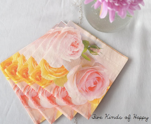 Pastel flower napkins, DIY wedding