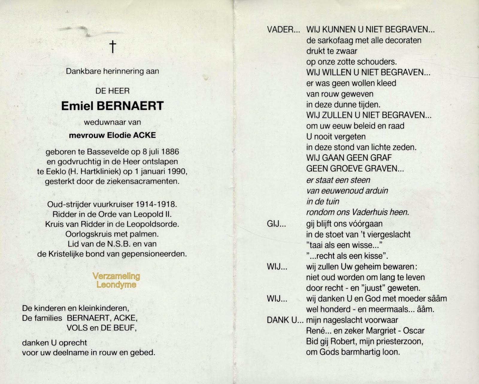 Bidprentje, Emiel Bernaert 1886-1990. Verzameling Leondyme