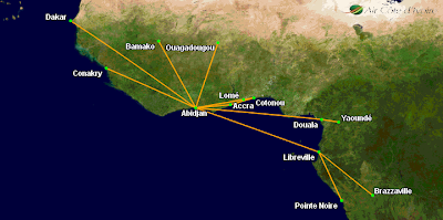 Air Côte d'Ivoire's updated route map.