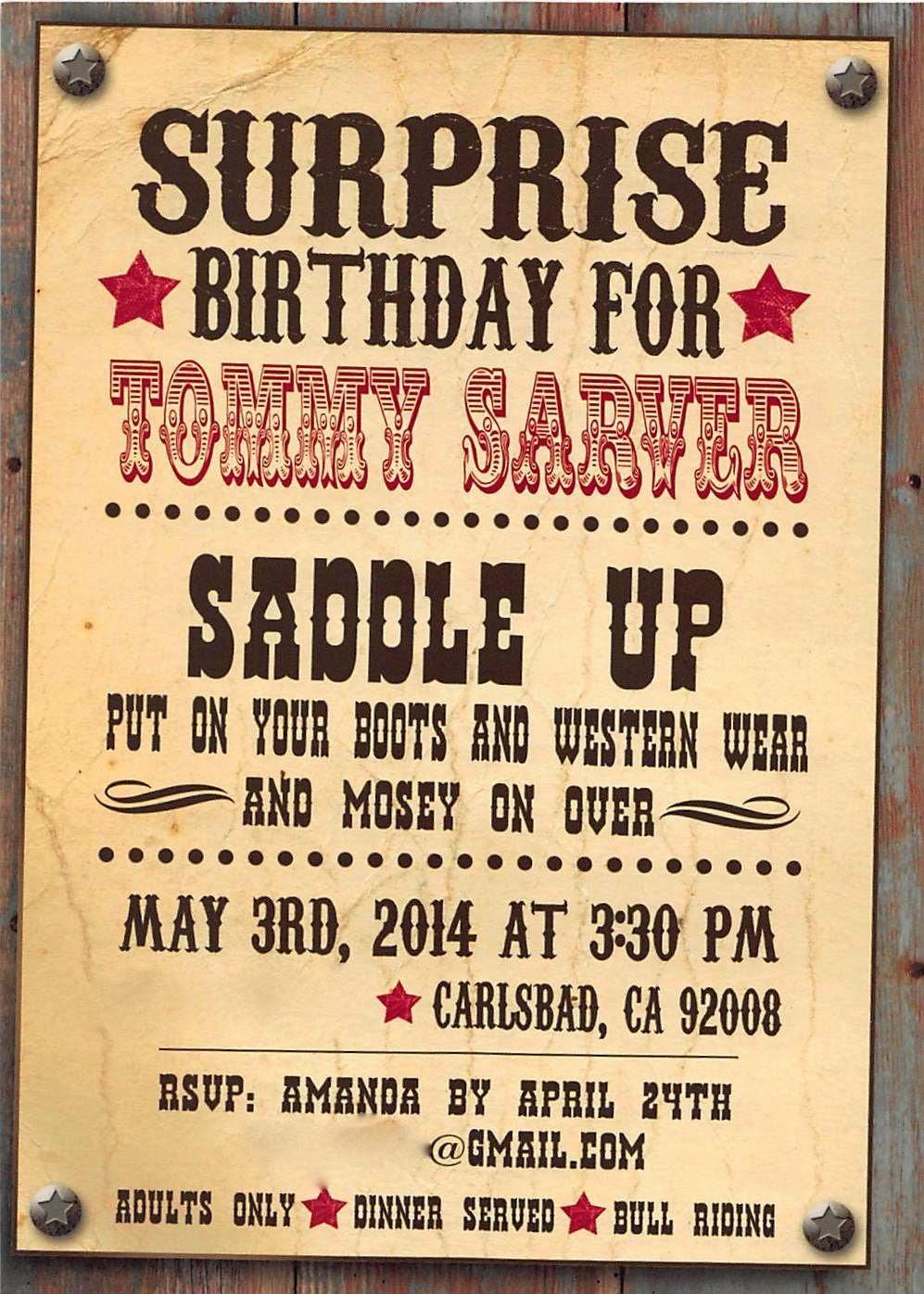 Amanda Sarver: Happy Birthday Tommy Cowboy/Western Them Blog ...