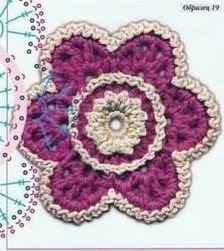 #708 Patrón de Flor tejida a Crochet