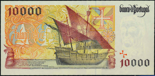 Portugal money currency 10000 Escudos banknote 1998 Portuguese Caravel Ship