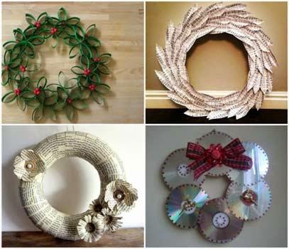 Guirlanda de Natal de material reciclavel para crianças