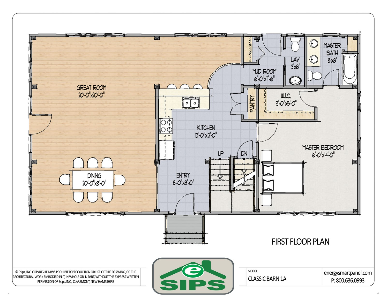 Example of open concept barn home plan. The main living areas are open  title=