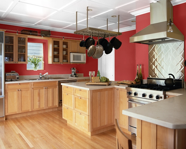 Making your home sing red paint colors for a kitchen for Kitchen ideas white cabinets red walls