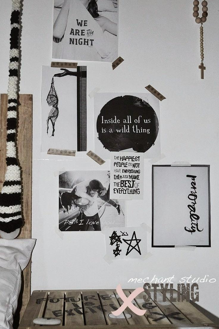 Decorar con fotos en blanco y negro. Decorar con washi tape. Frases y palabras. Láminas en la pared. Póster para pared de chica. Decorar un vestidor.