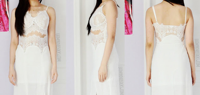 Front, side, and back views of the eyelash lace trim bustier-style maxi dress from SheIn, a perfect elegant boho beach gown.