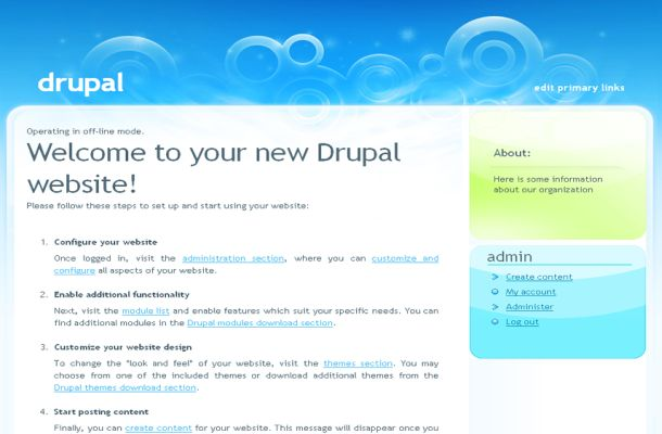 Free Drupal Blue Green Business Theme Template