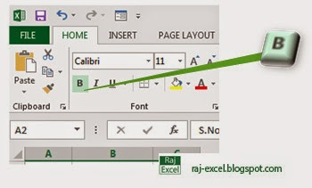 How to make text or data Bold in Excel 2013