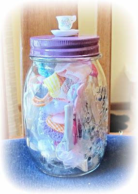 image jar upcycled painted lid teacup ornament storage