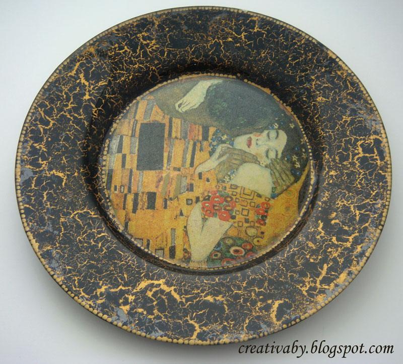 Декупаж и кракелюр на стеклянных тарелках