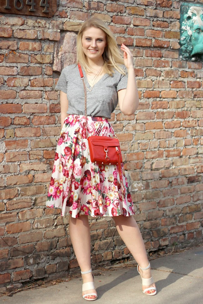 madewell tee, floral midi skirt, asos, rebecca minkoff, mini mac handbag, m2 boutique